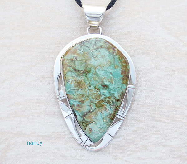 Image 0 of    Large Green Turquoise & Sterling Silver Pendant Native American Made - 1902sn