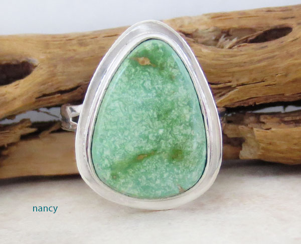 Turquoise & Sterling Silver Ring Size 8 Native American Jewelry - 1903sn