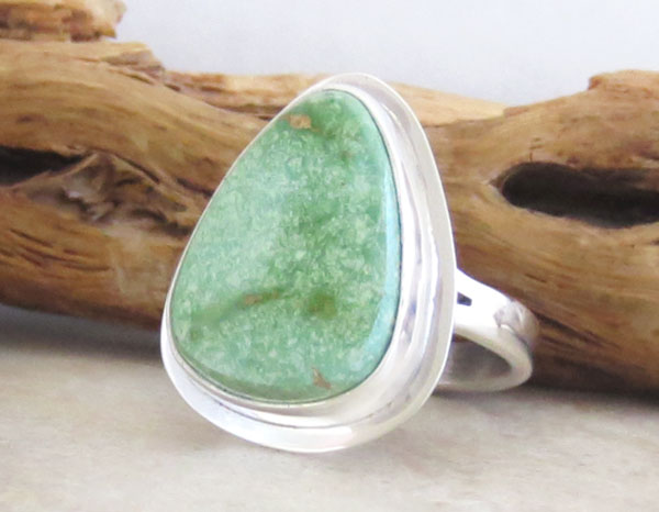 Image 3 of     Turquoise & Sterling Silver Ring Size 8 Native American Jewelry - 1903sn