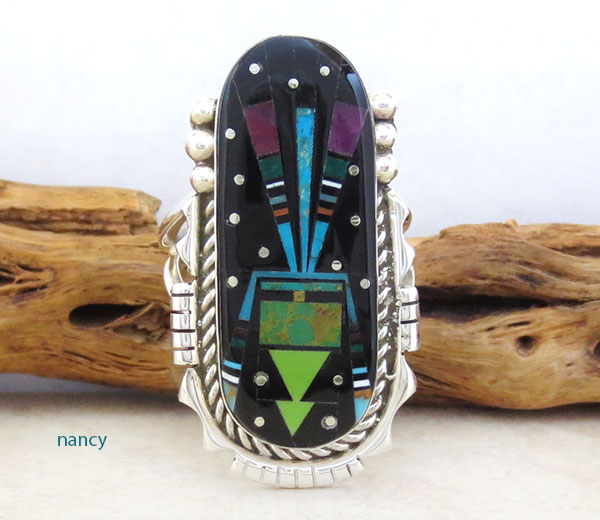 Image 0 of Handcrafted Multi Gemstone Inlay Ring Size 12 Ray Jack Navajo - 4872pl