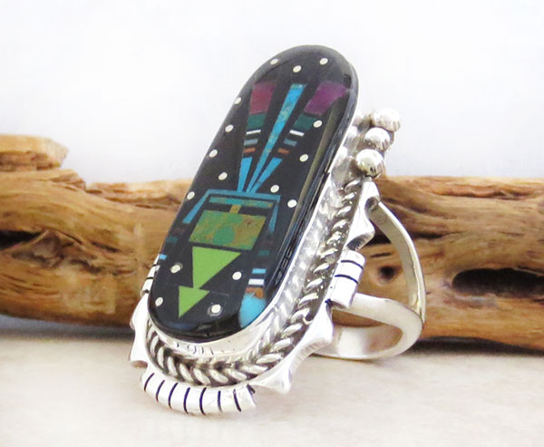 Image 3 of Handcrafted Multi Gemstone Inlay Ring Size 12 Ray Jack Navajo - 4872pl
