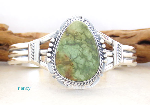 Image 0 of     Emerald Valley Turquoise & Sterling Silver Bracelet Native American - 2361sn