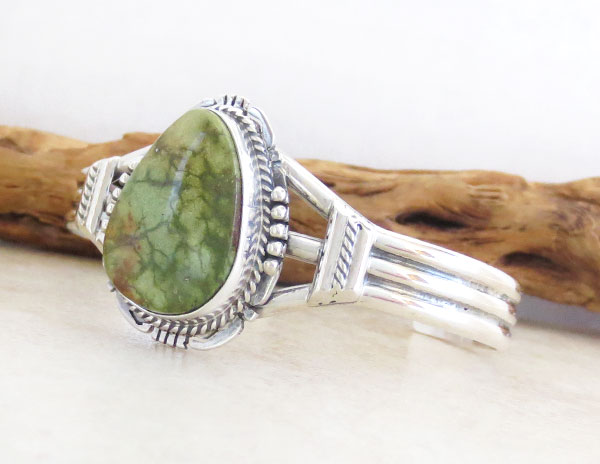 Image 3 of     Emerald Valley Turquoise & Sterling Silver Bracelet Native American - 2361sn