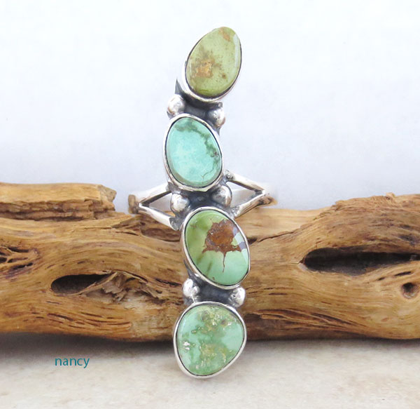Green Turquoise & Sterling Silver Ring Sz 9 Native American Jewelry - 4546sn