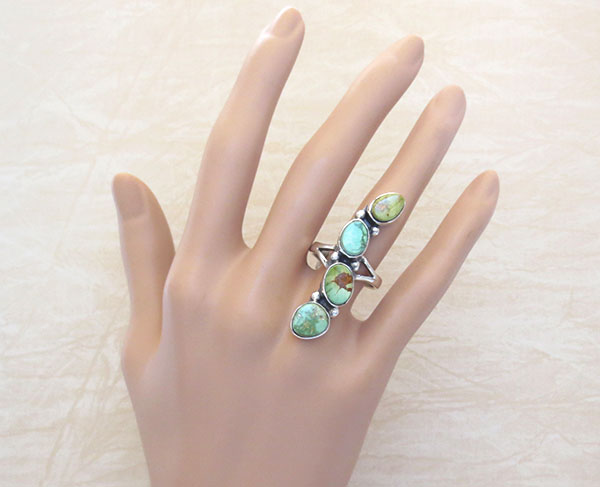 Image 1 of   Green Turquoise & Sterling Silver Ring Sz 9 Native American Jewelry - 4546sn