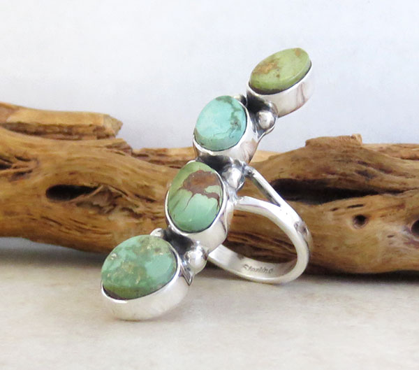 Image 3 of   Green Turquoise & Sterling Silver Ring Sz 9 Native American Jewelry - 4546sn