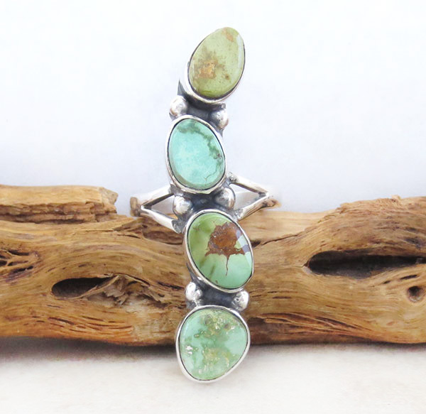 Image 0 of   Green Turquoise & Sterling Silver Ring Sz 9 Native American Jewelry - 4546sn