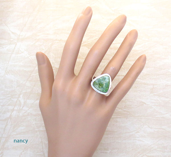 Emerald Valley Turquoise & Sterling Silver Ring Size 7 Navajo Made - 2369sn