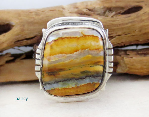 Mammoth Tooth Stone & Sterling Silver Ring Size 9 Navajo Made - 2351sn