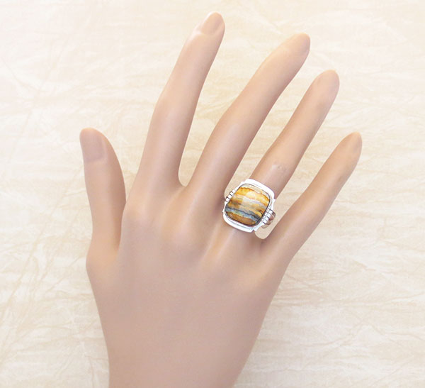 Image 1 of Mammoth Tooth Stone & Sterling Silver Ring Size 9 Navajo Jewelry - 2351sn