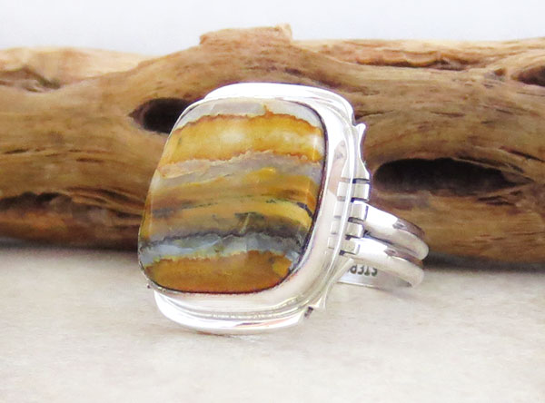 Image 3 of Mammoth Tooth Stone & Sterling Silver Ring Size 9 Navajo Jewelry - 2351sn