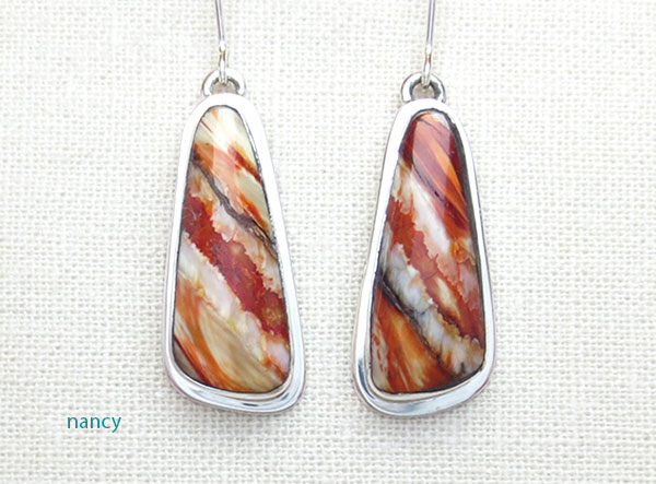 Image 0 of Native American Ancient Mammoth Tooth & Sterling Silver Earrings - 4873sn