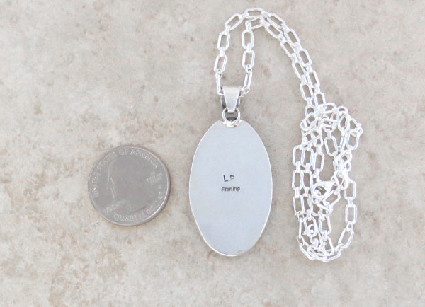 Image 3 of Mammoth Tooth Stone & Sterling Silver Pendant Native American Made - 2480sn