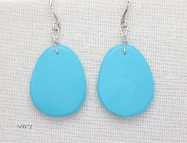 Image 0 of        Sky Blue Turquoise Slab Earrings Kewa Jewelry- 2169pl