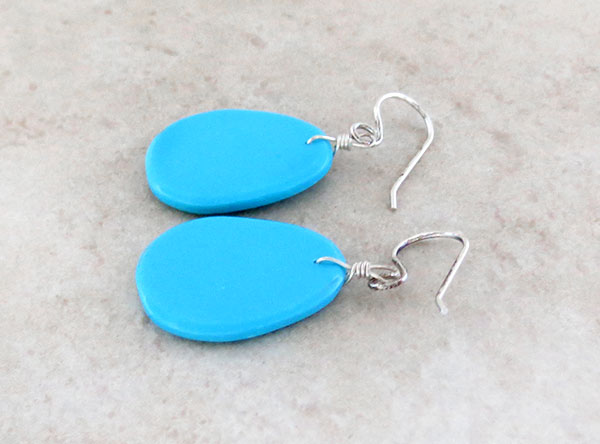 Image 1 of        Sky Blue Turquoise Slab Earrings Kewa Jewelry- 2169pl