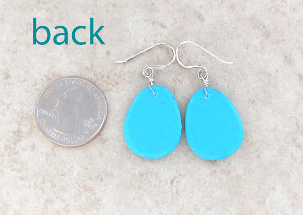 Image 2 of        Sky Blue Turquoise Slab Earrings Kewa Jewelry- 2169pl