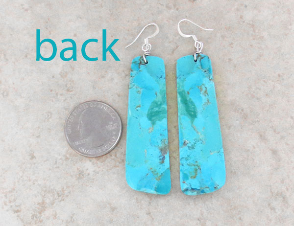Image 2 of      Large Turquoise Slab Earrings Native American Made - 4628pl