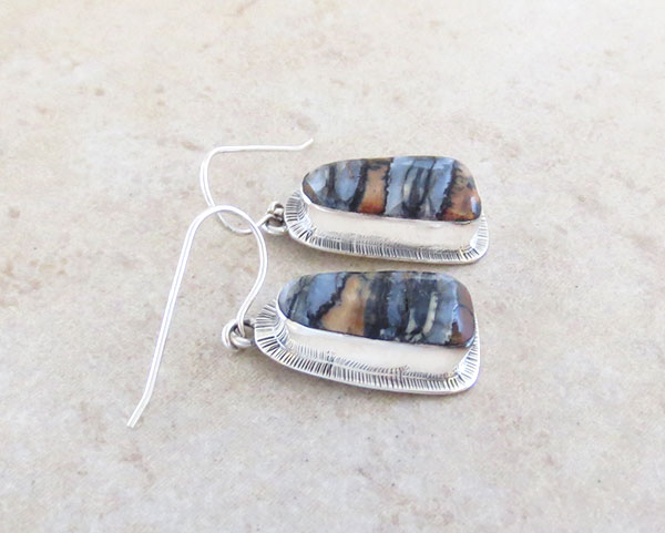 Image 1 of Native American Ancient Mammoth Tooth & Sterling Silver Earrings - 2416sn