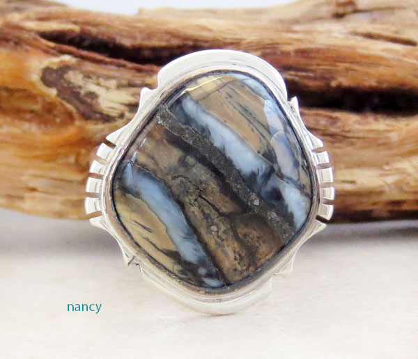 Mammoth Tooth Stone & Sterling Silver Ring Size 9 Navajo Made - 4624sn
