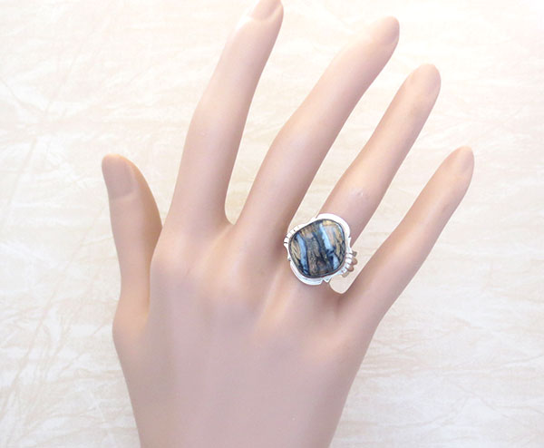 Image 1 of Mammoth Tooth Stone & Sterling Silver Ring Size 9 Navajo Made - 4624sn