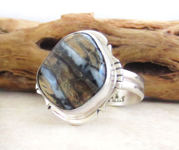 Image 3 of Mammoth Tooth Stone & Sterling Silver Ring Size 9 Navajo Made - 4624sn