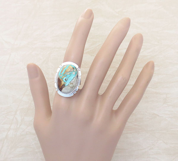 Boulder Turquoise & Sterling Silver Ring Size 10.25 Native American - 2318sn