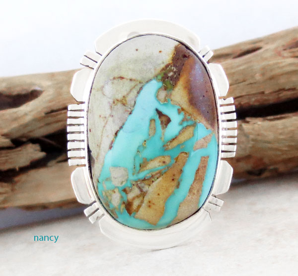 Image 1 of     Boulder Turquoise & Sterling Silver Ring Size 10.25 Native American - 2318sn