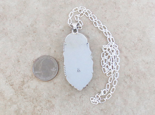 Image 3 of BIG Sunnyside Turquoise & Sterling Silver Pendant Native American Made - 2105sn
