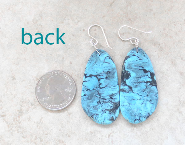 Image 2 of      Big Native American Made Turquoise Slab Earrings -  2327pl