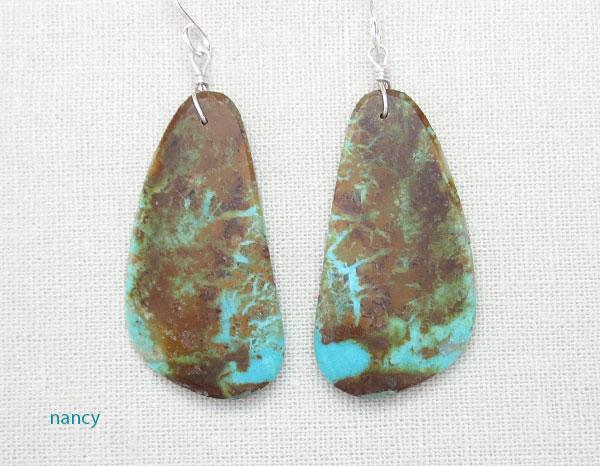 Image 0 of     Turquoise Slab Earrings Native American Kewa Ronald Chavez - 4875pl