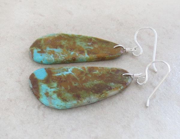 Image 1 of     Turquoise Slab Earrings Native American Kewa Ronald Chavez - 4875pl