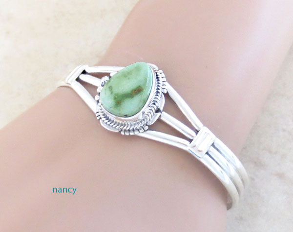 Image 1 of      Turquoise & Sterling Silver Bracelet Native American Jewelry- 4876sn