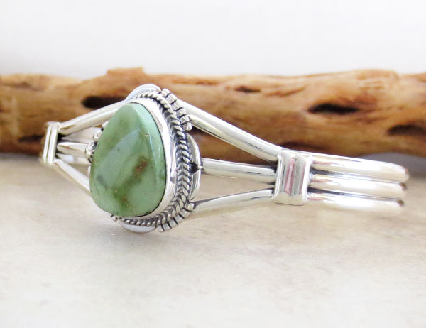 Image 3 of      Turquoise & Sterling Silver Bracelet Native American Jewelry- 4876sn
