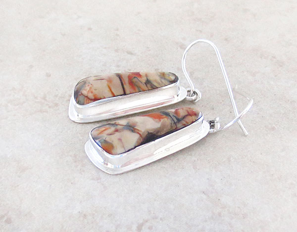 Image 1 of  Native American Jewelry Mammoth Tooth & Sterling Silver Earrings - 2381sn