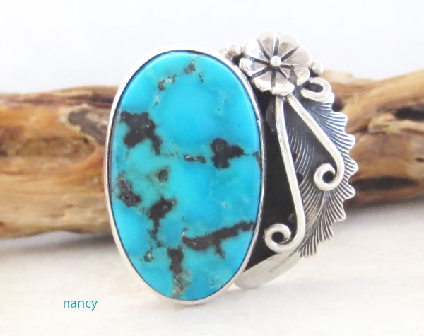 Peterson Johnson Turquoise & Sterling Silver Ring Size 10 - 4728pl