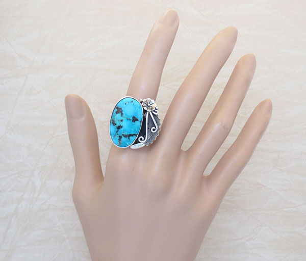 Image 1 of    Peterson Johnson Turquoise & Sterling Silver Ring Size 10 - 4728pl