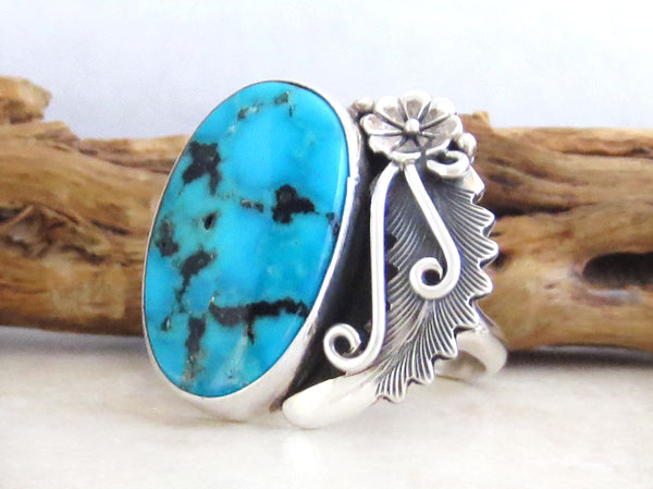 Image 3 of    Peterson Johnson Turquoise & Sterling Silver Ring Size 10 - 4728pl