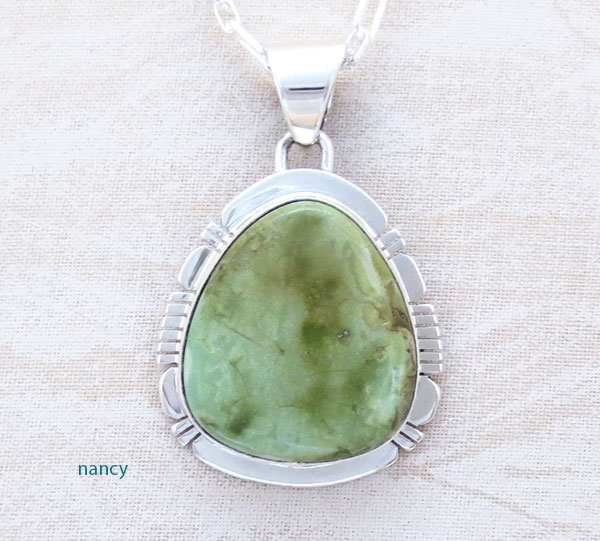 Green Turquoise & Sterling Silver Pendant Native American Made - 2325sn