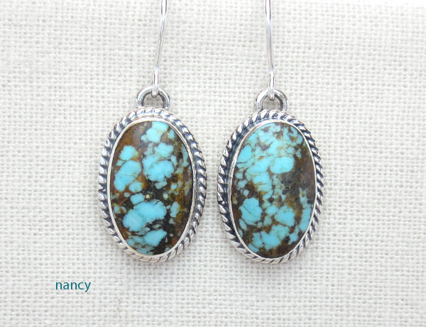 Number 8 Turquoise & Sterling Silver Earrings Native American Made - 4870sn