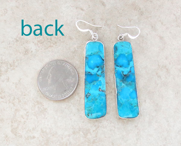 Image 2 of      Turquoise Slab & Sterling Silver Earrings Native American Made - 4732pl