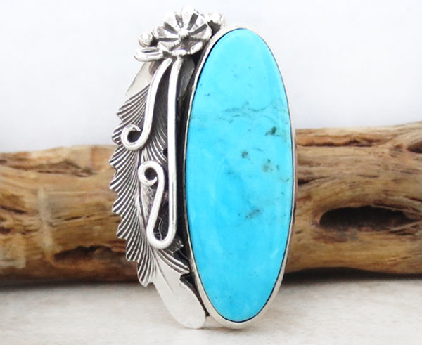 Peterson Johnson Turquoise & Sterling Silver Ring Size 8 Navajo - 1207pl