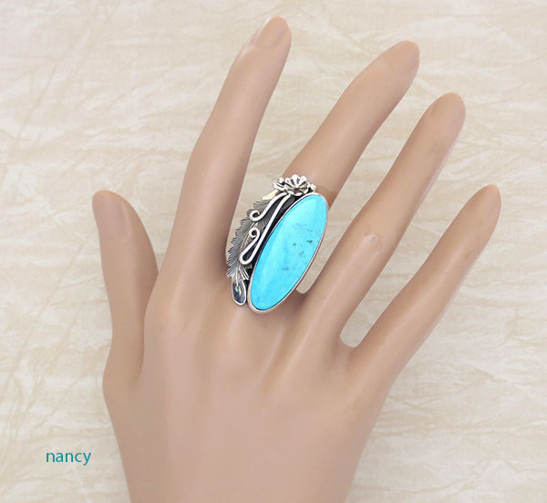Image 1 of Peterson Johnson Turquoise & Sterling Silver Ring Size 8 Navajo - 1207pl
