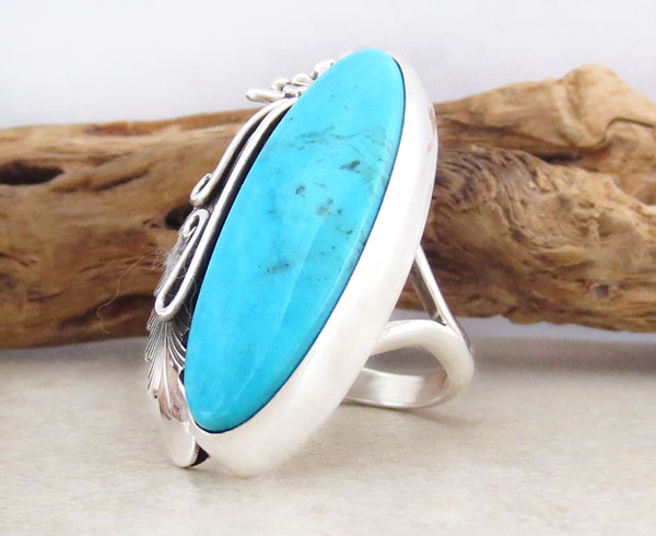 Image 3 of Peterson Johnson Turquoise & Sterling Silver Ring Size 8 Navajo - 1207pl