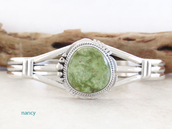 Green Turquoise & Sterling Silver Bracelet Native American Made - 4731sn