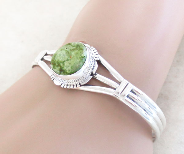 Image 1 of  Green Turquoise & Sterling Silver Bracelet Native American Made - 4731sn