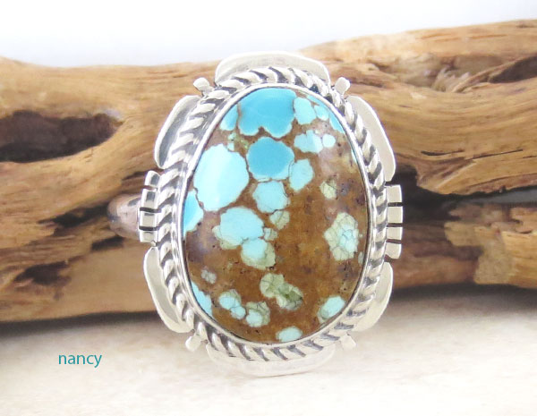 Image 1 of    Native American Jewelry Turquoise & Sterling Silver Ring Sz 8 - 2136sn