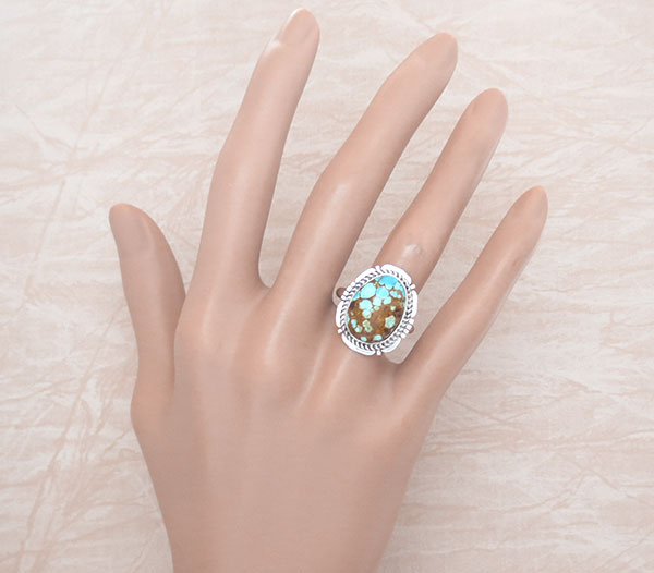 Native American Jewelry Turquoise & Sterling Silver Ring Sz 8 - 2136sn