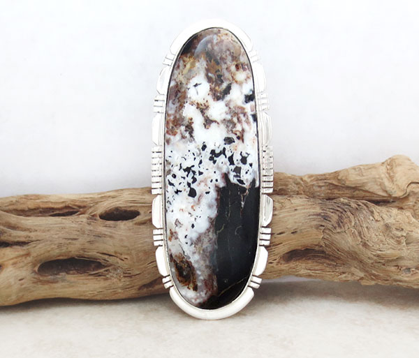 Image 0 of Huge White Buffalo Stone & Sterling Silver Ring Size 10 Native American - 1270sn