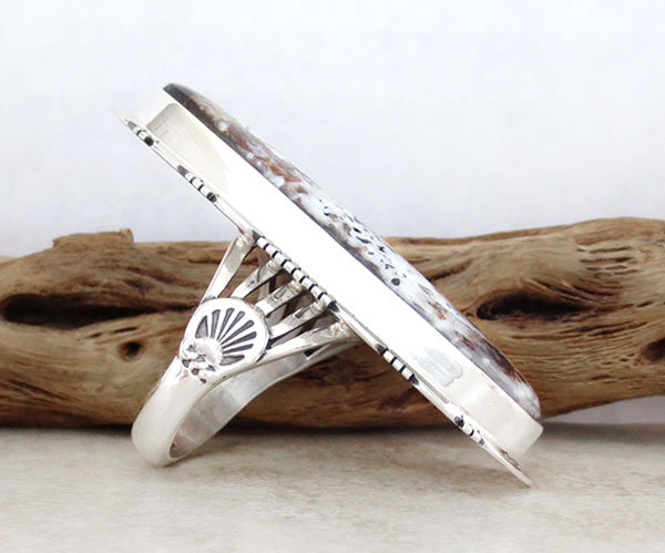 Image 2 of Huge White Buffalo Stone & Sterling Silver Ring Size 10 Native American - 1270sn