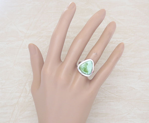 Green Turquoise & Sterling Silver Ring Size 6 Navajo Made - 2137sn